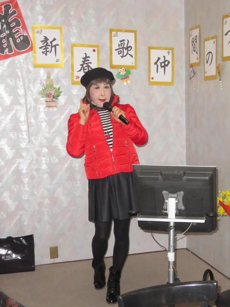 赤ダウンジャケット黒フレアスカカラオケ(4)