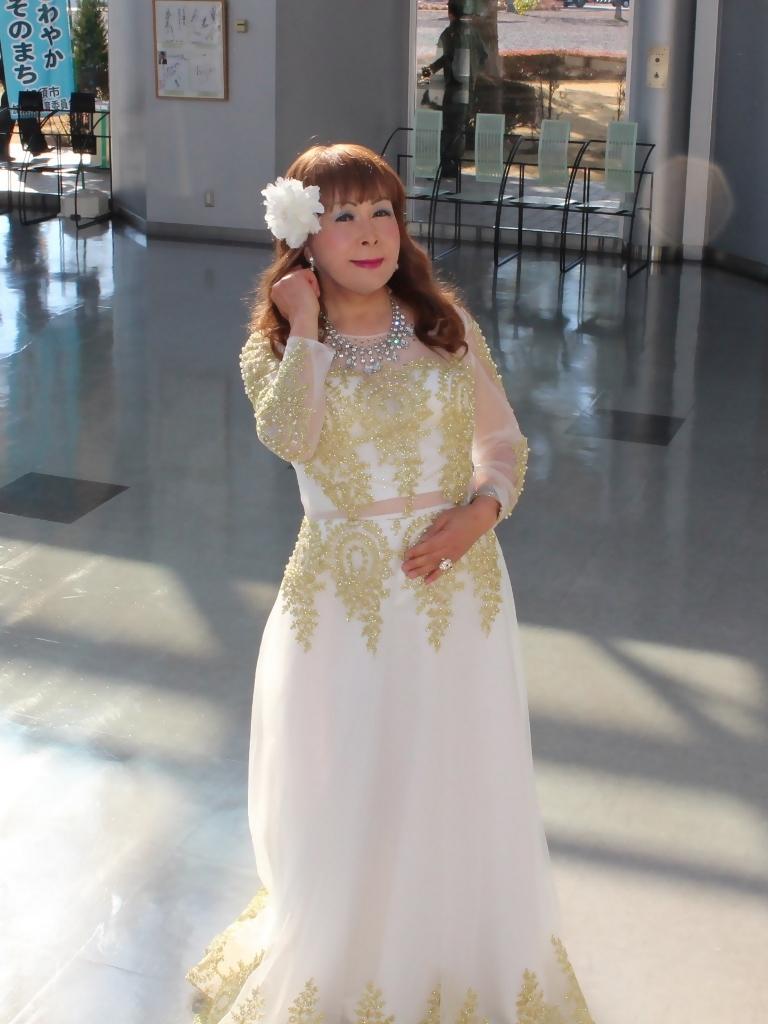 白地に金レース飾りドレスA(6)