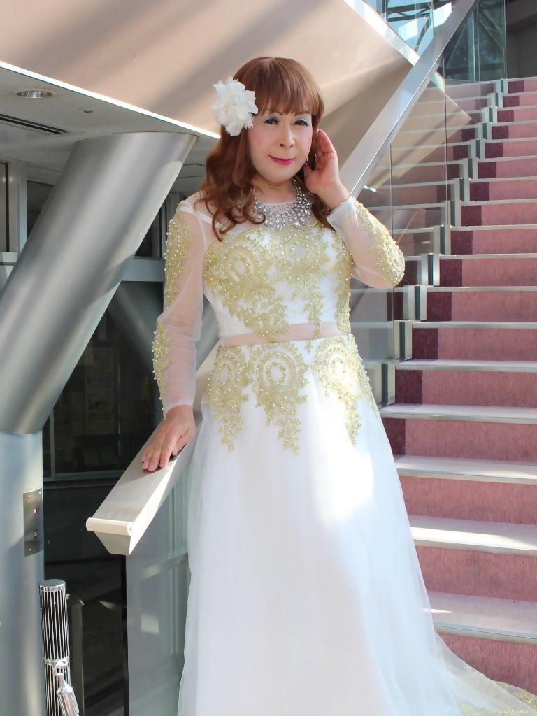 白地に金レース飾りドレスA(5)