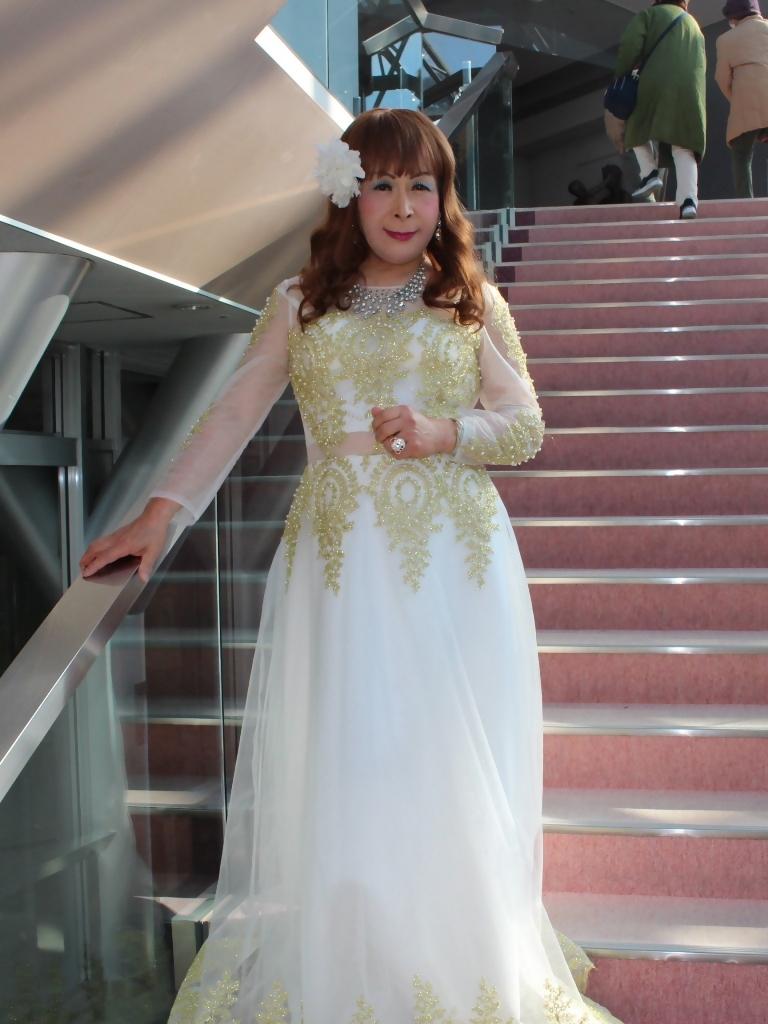 白地に金レース飾りドレスA(3)