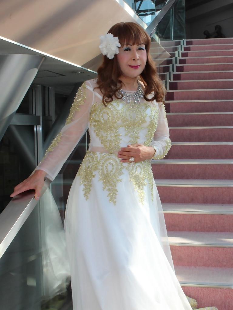 白地に金レース飾りドレスA(4)