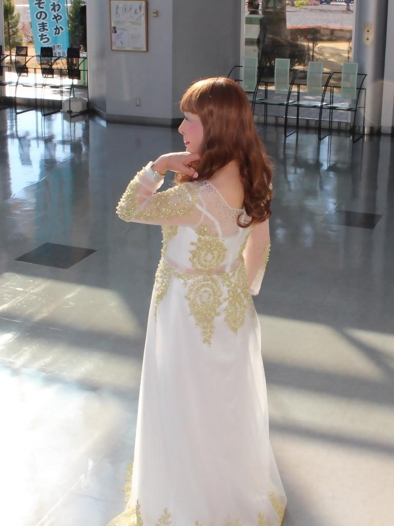 白地に金レース飾りドレスA(7)