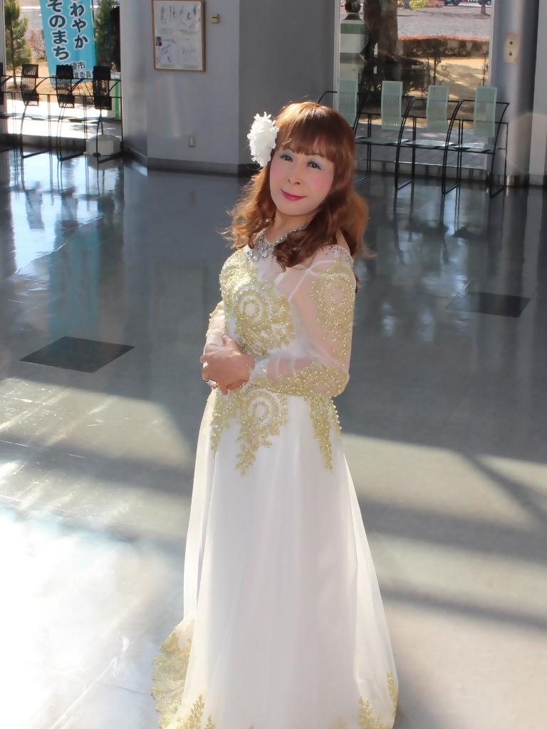 白地に金レース飾りドレスA(8)