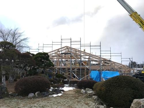 秋保の家 建方開始1