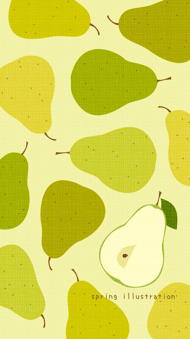 洋梨 秋の果物のイラストスマホ壁紙 Spring Illustration シンプルでかわいいイラストのスマホ壁紙 スマホ待ち受け