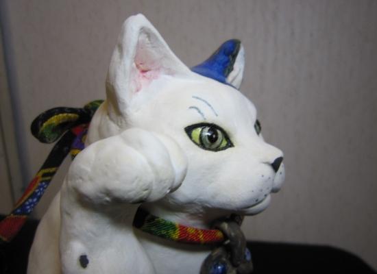 きつね顔の招き猫1#すず音窯#陶芸猫作家めいこ