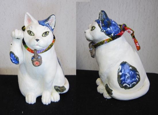 きつね顔の招き猫2#すず音窯#陶芸猫作家めいこ