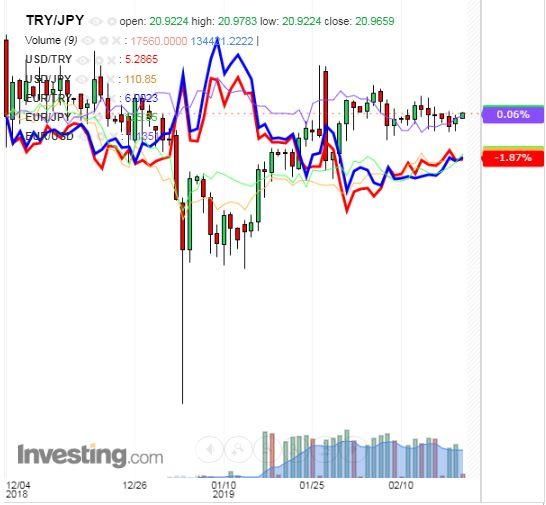 トルコリラ円 TRY/JPY(日足) 2019年2月20日