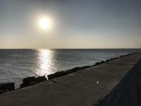 永安漁港防波堤からの夕日181129