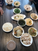 鶏肉飯と小皿181230