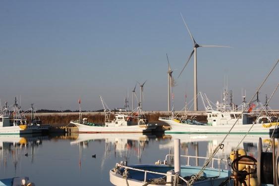 漁港と風車