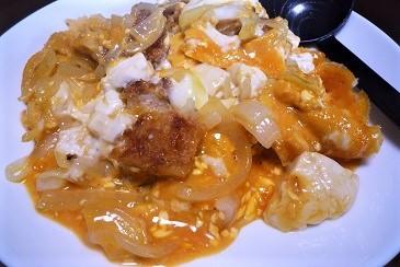 カツ豆腐卵とじ