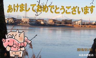 富士山と猪