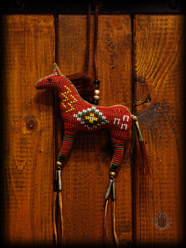 Beaded Horse Amulet Red Janie 1