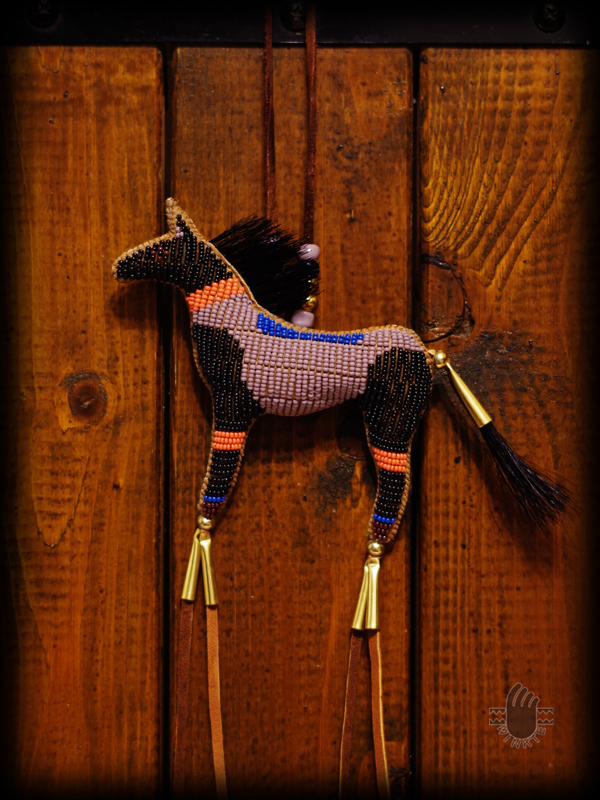 Beaded Horse Amulet Two tone Janie 1