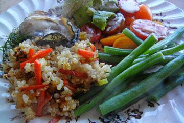blog CP9 Dinner, Carrot & Sweet Rice, Broiled Oyster, Long Beans & Tomato, Avocado Salad_DSCN0668-10.27.18.jpg