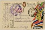 イタリア・軍事郵便はがき(WWI・国旗)