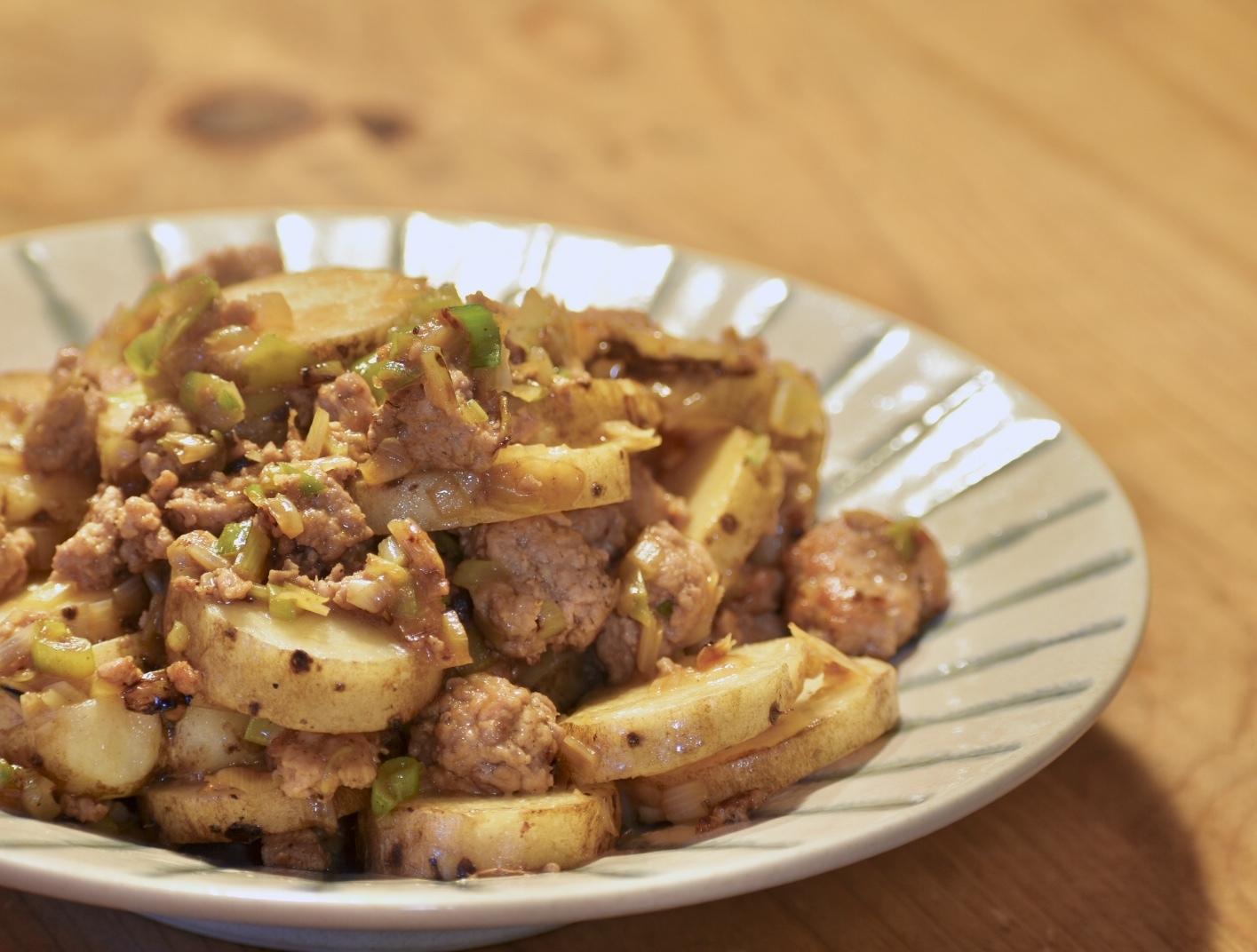 山芋と豚ひき肉のネギ醤油