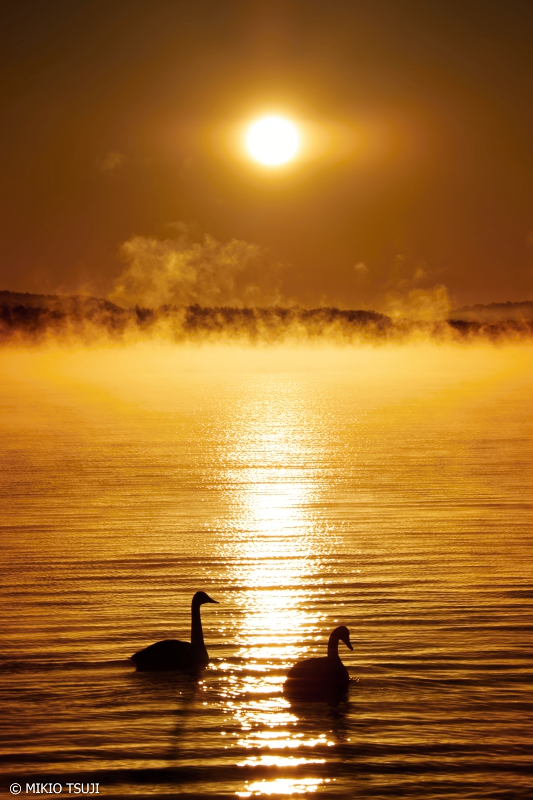 絶景探しの旅 - 0787 初冬の屈斜路湖の黄金の朝 (和琴半島/北海道 弟子屈町)