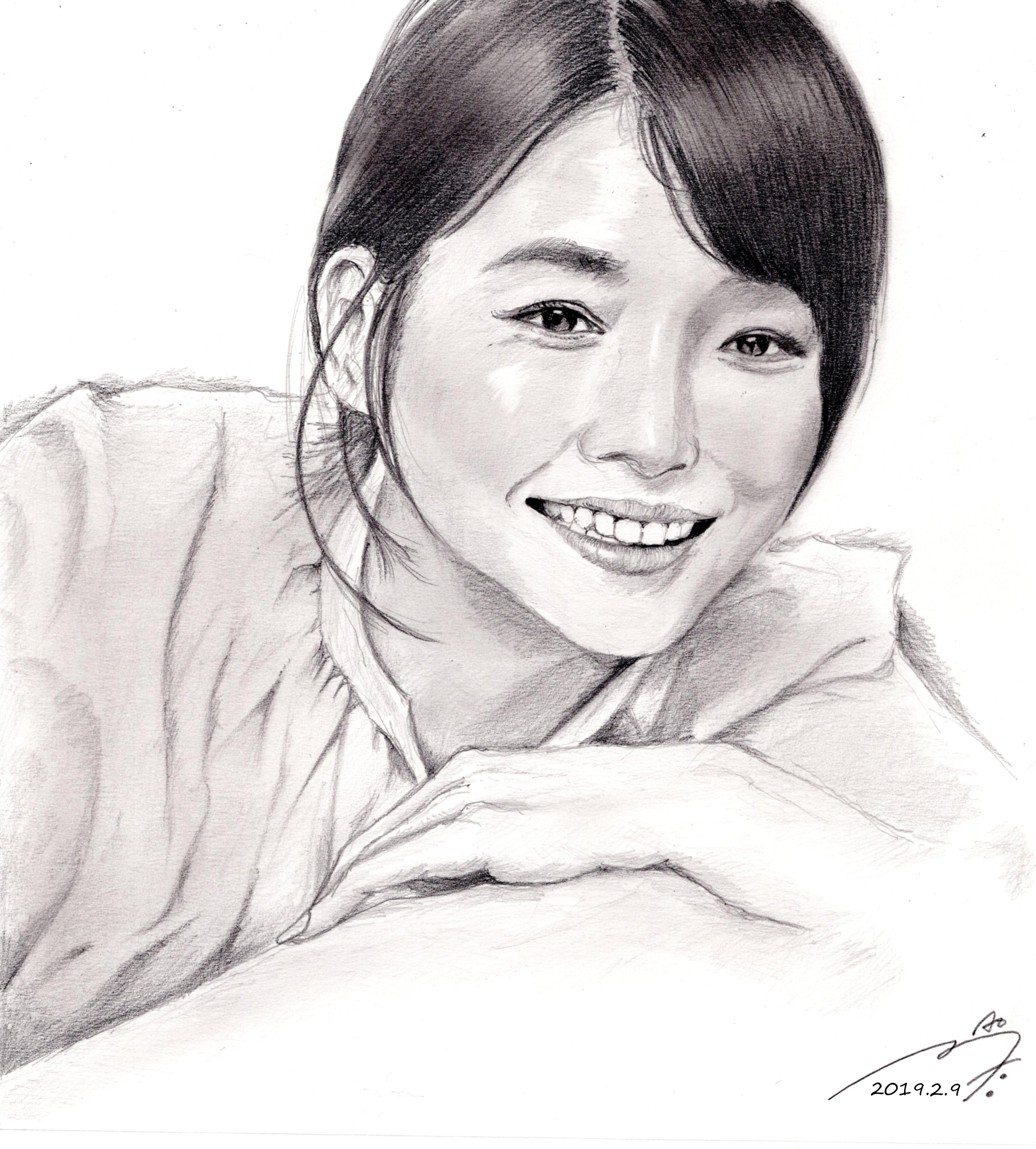 石田ゆり子 鉛筆画似顔絵