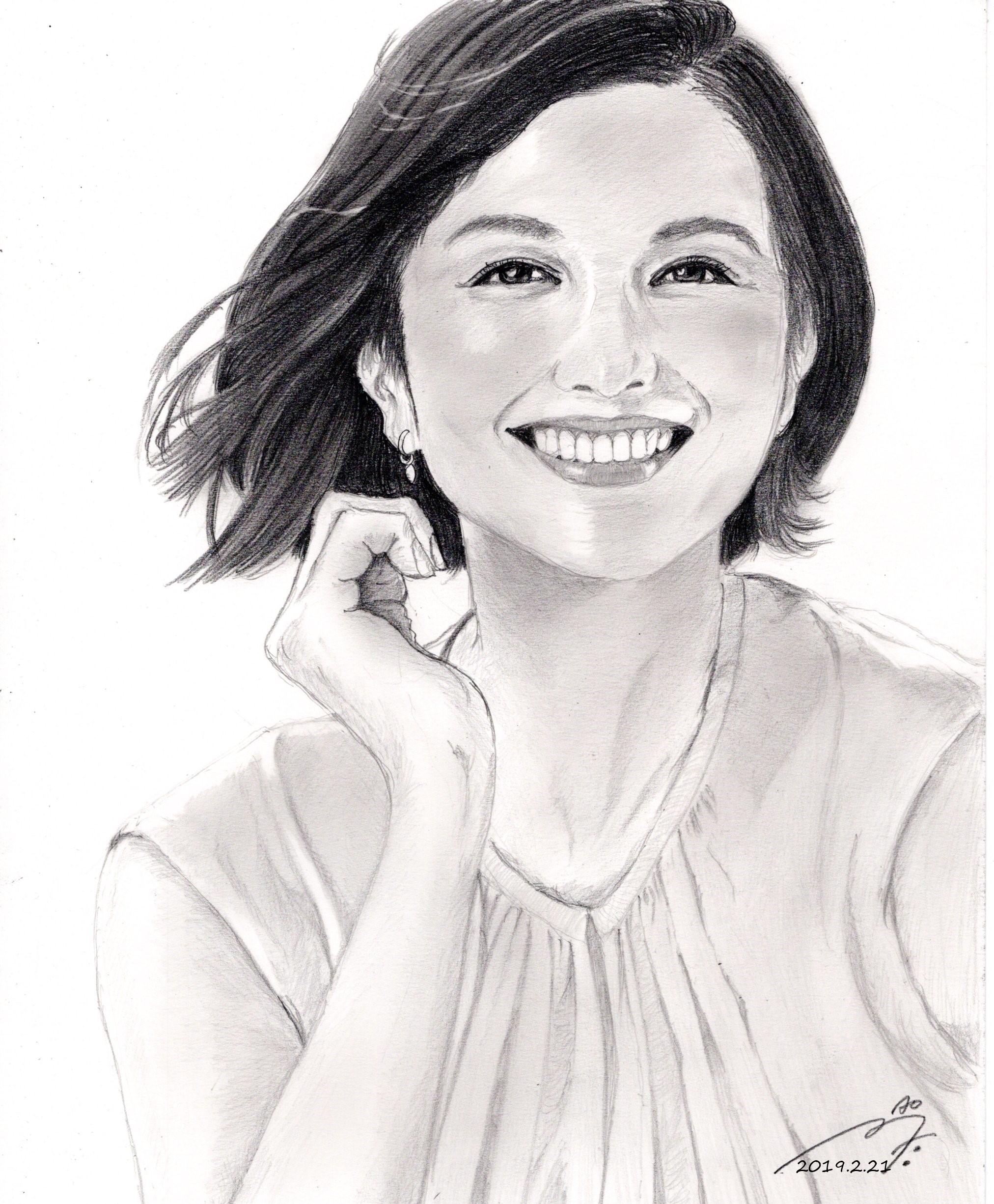 鈴木京香 鉛筆画似顔絵